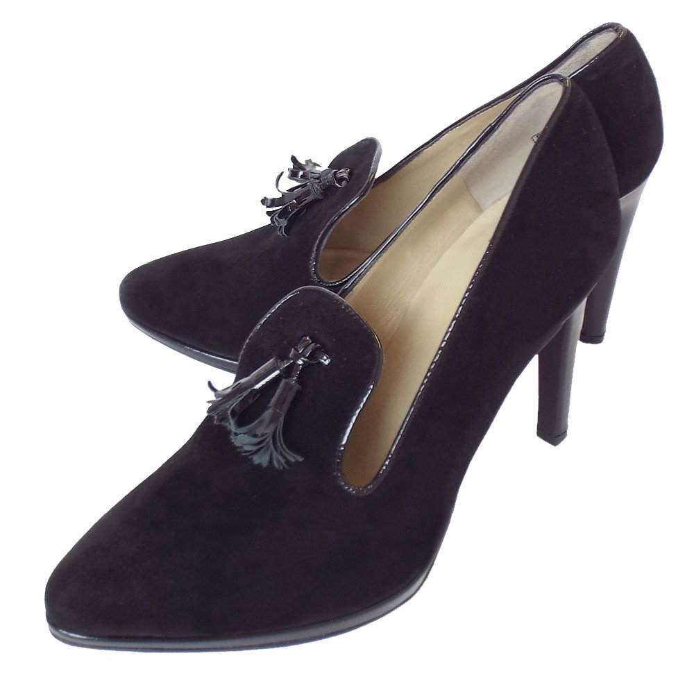 kaiser holm high heel trouser shoes in black suede