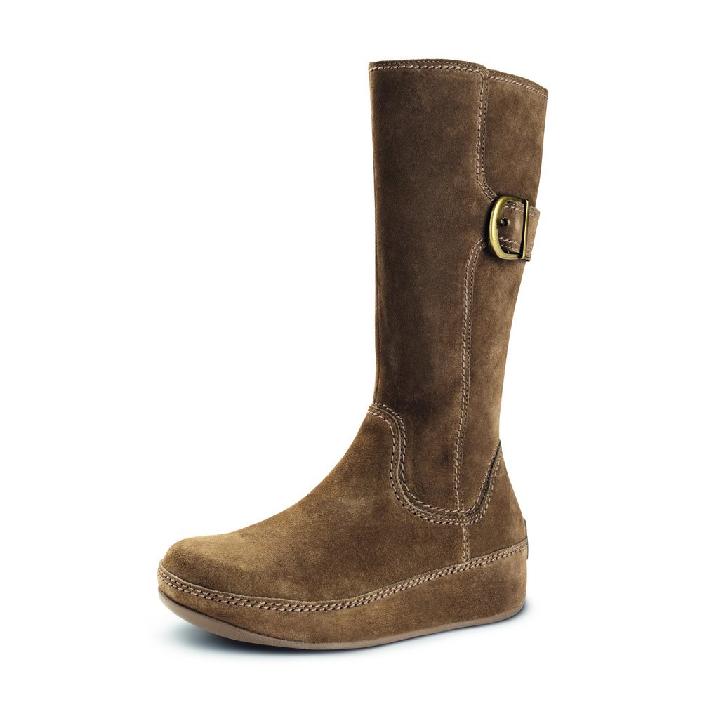 fitflops hooper boot in brown suede from mozimo