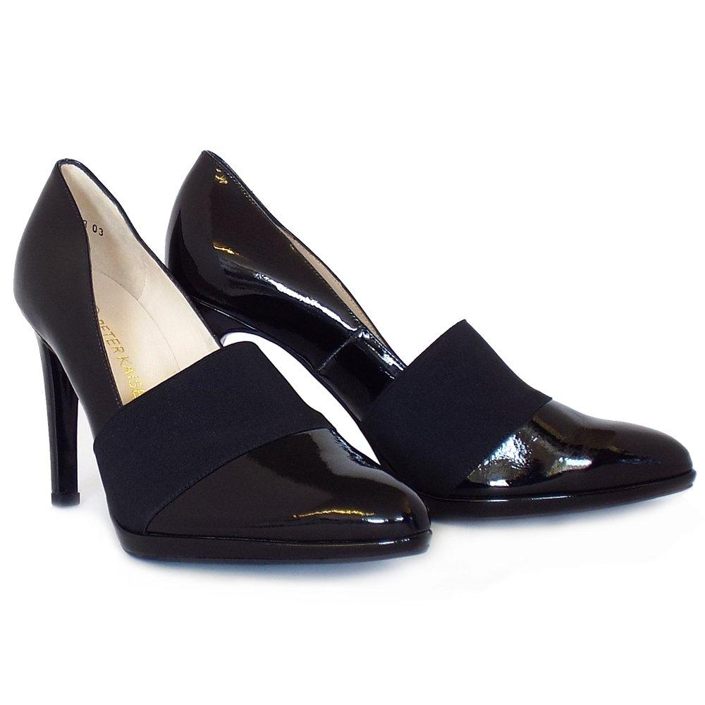 kaiser horta high heel court shoes in black patent