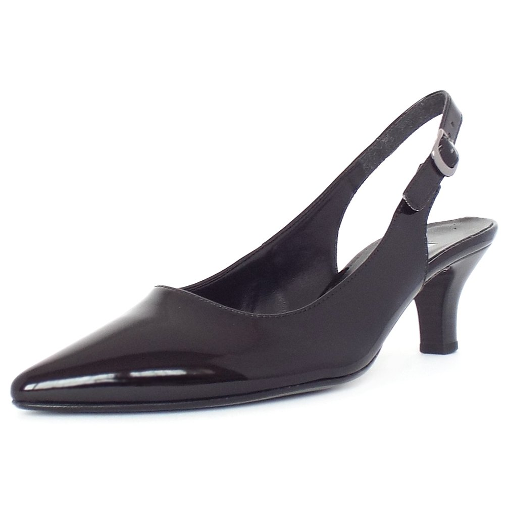 Kitten Heel Slingback Shoes Black