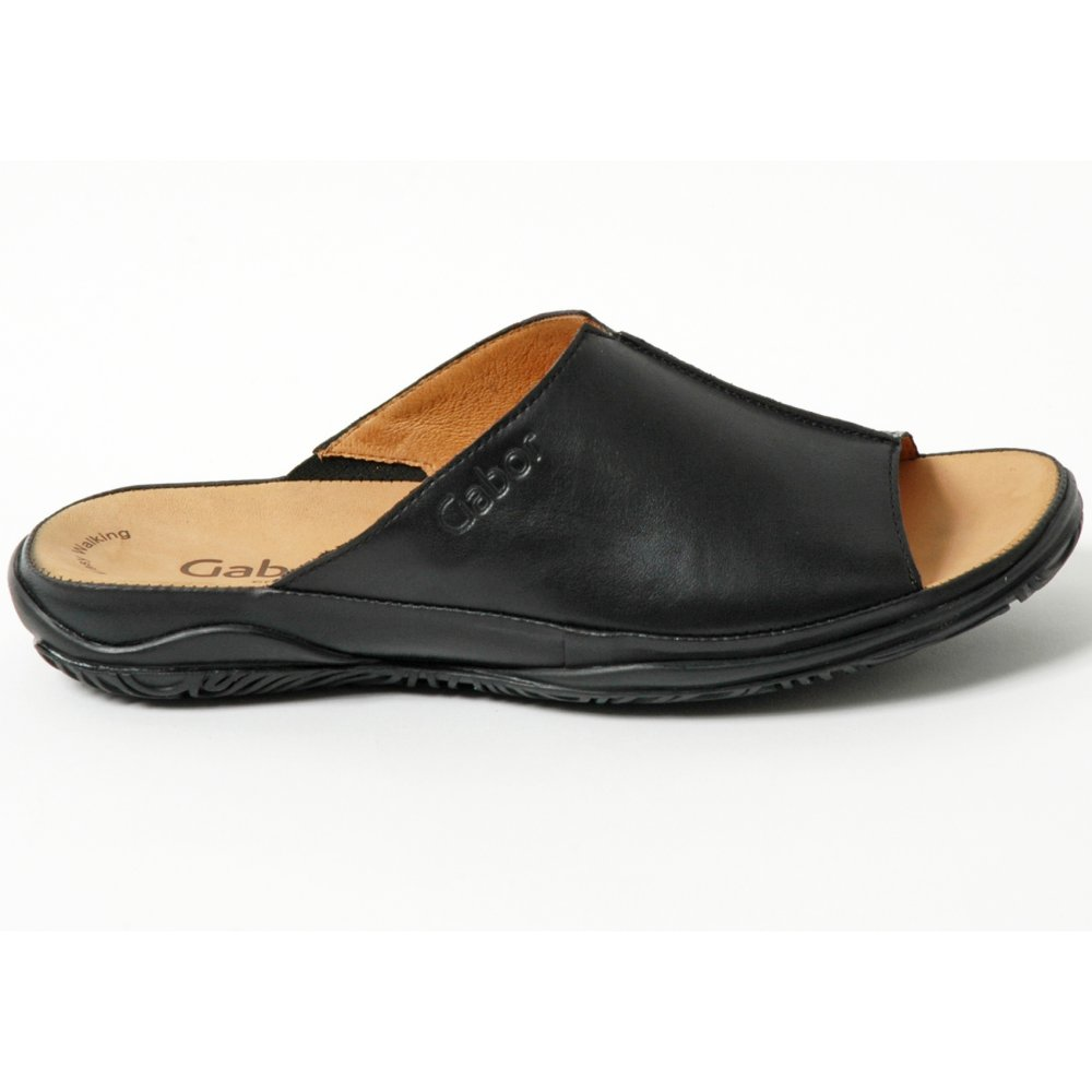 Gabor Shoes | Idol Leather Mule Shoe in Black | Mozimo
