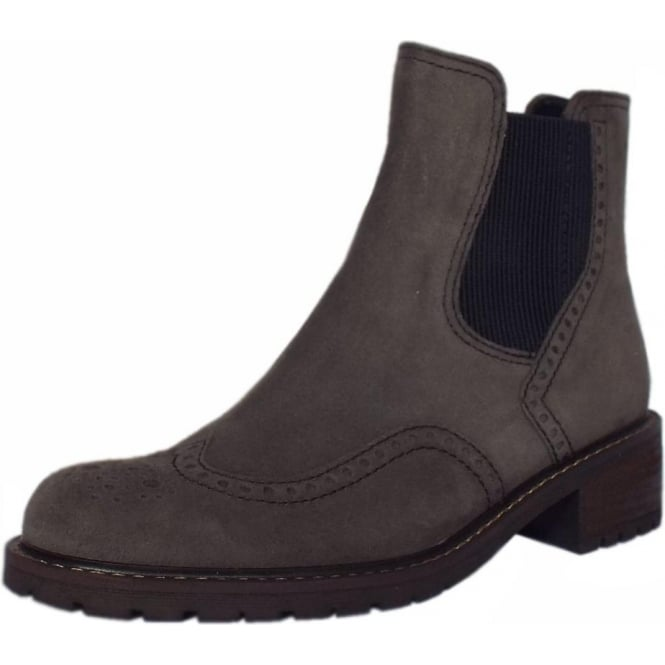 Imagine Women's Brogue Style Wide Fit Ankle Boots in Dark Grey Suede