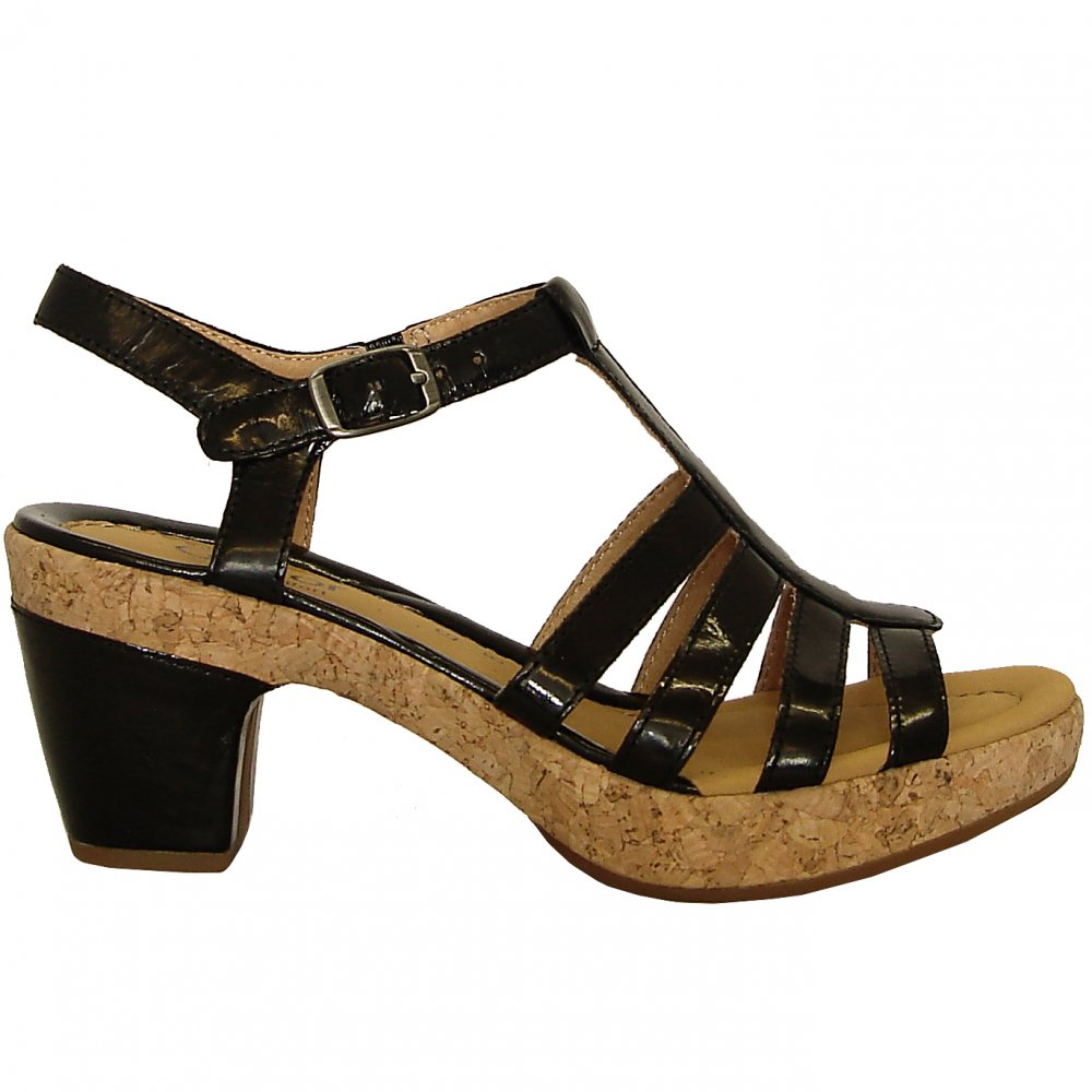 Gabor Shoes Wide Fit Sandal In Black Patent Mozimo