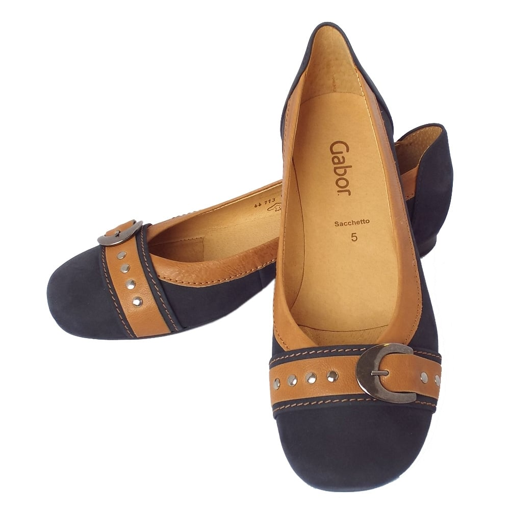 gabor indiana women 39 s casual slip on ballet pumps in navy and tan. Black Bedroom Furniture Sets. Home Design Ideas