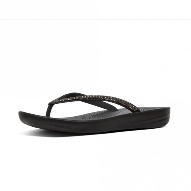 FitFlop Iqushion™ Sparkle Ergonomic Flip Flops in Black