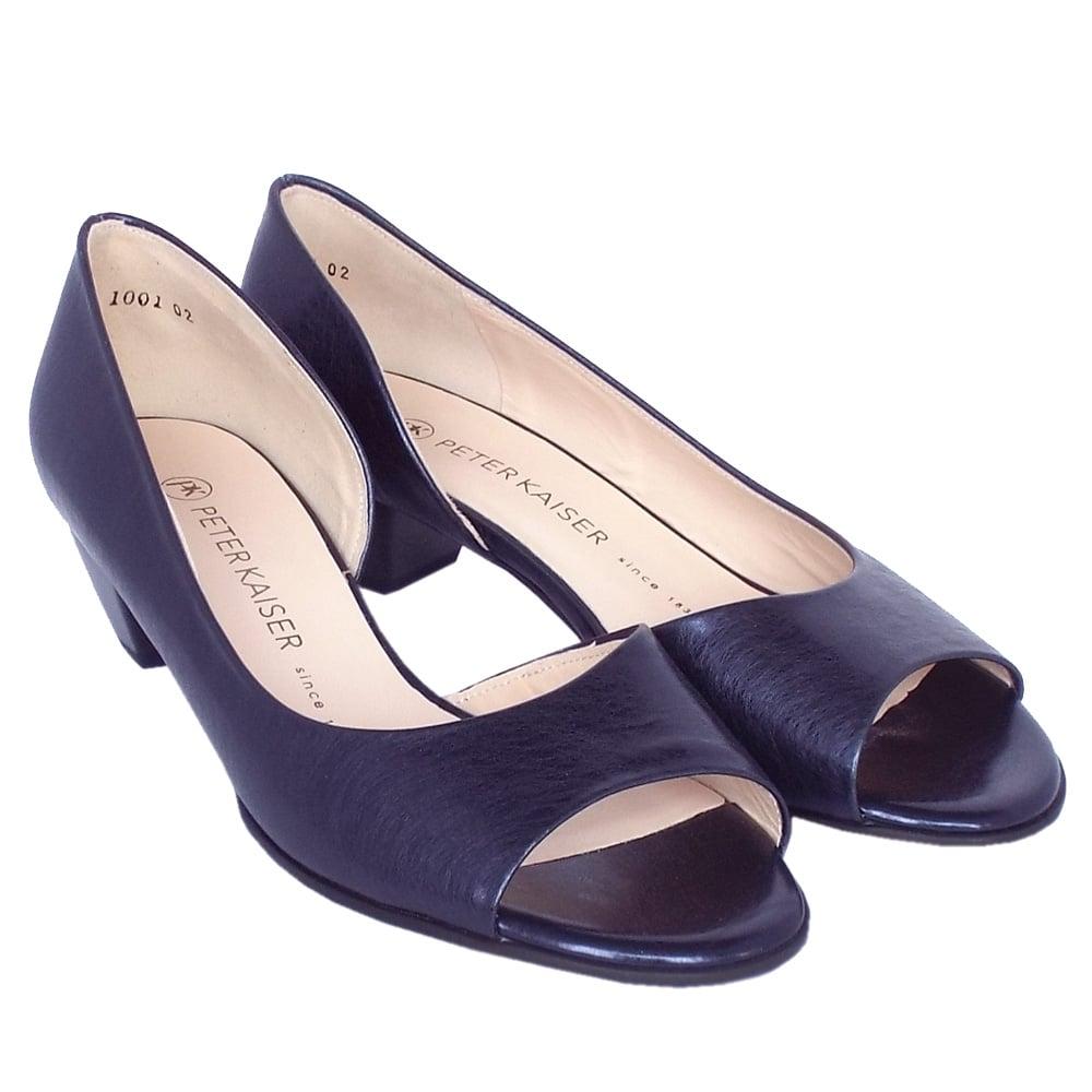 kaiser itha low heel open toe shoes in metallic