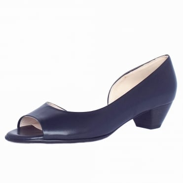 Itha Low Heel Open Toe Shoes in Navy