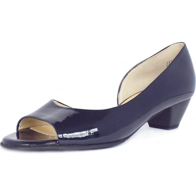 Peter Kaiser Itha Low Heel Open Toe Shoes in Navy Patent