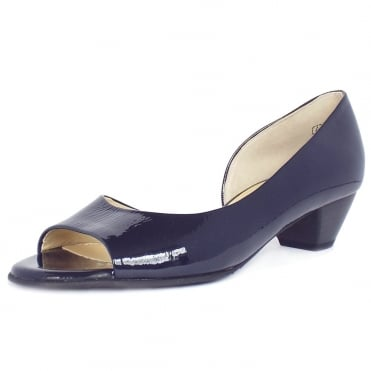 Itha Low Heel Open Toe Shoes in Navy Patent