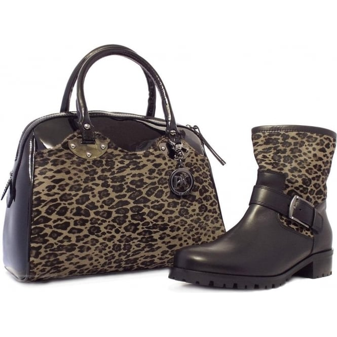 02f498197 Ivana Fashionable Biker Boots In Black Leather And Leopard Print Pony Skin