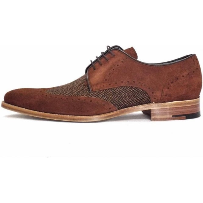 Barker Jackson Men's Lace Up Suede and Tweed Shoes
