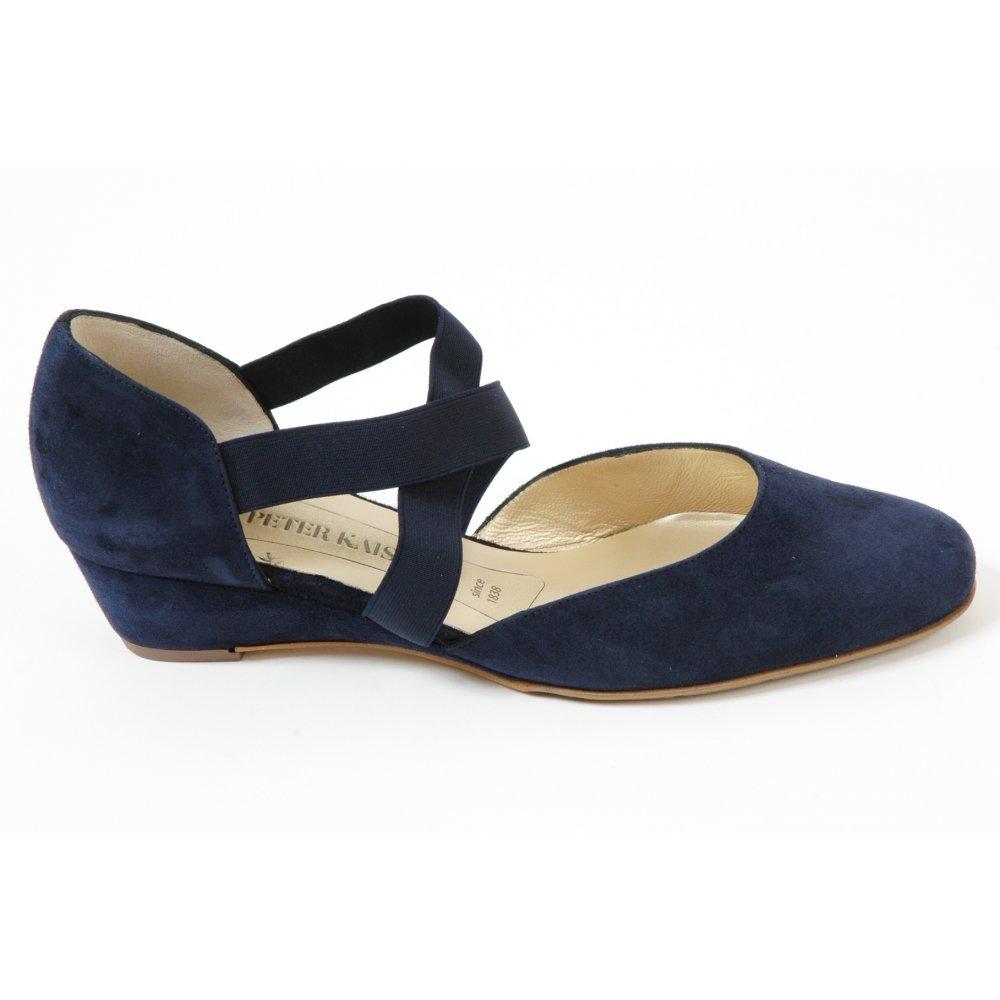 kaiser jaila cross wedge shoes in navy mozimo