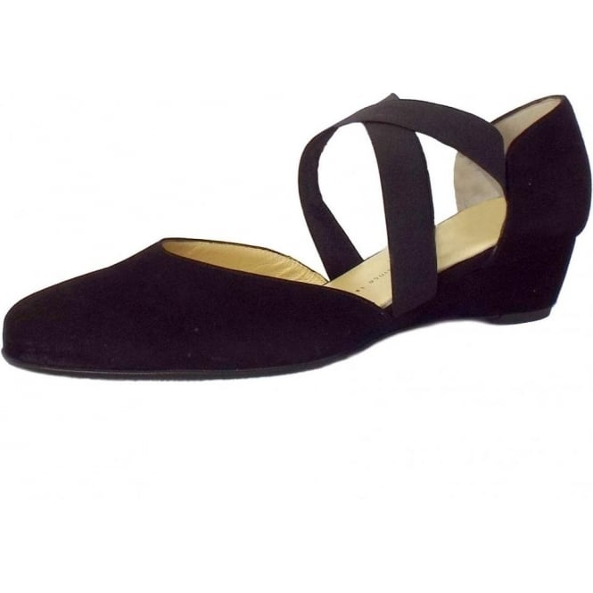 f487c33f43 Peter Kaiser Jaila | Black Suede Low Wedge Ladies Shoes | Mozimo