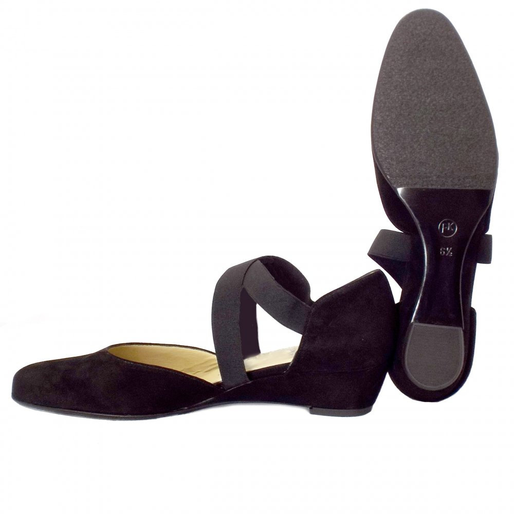 kaiser jaila black suede low wedge shoes