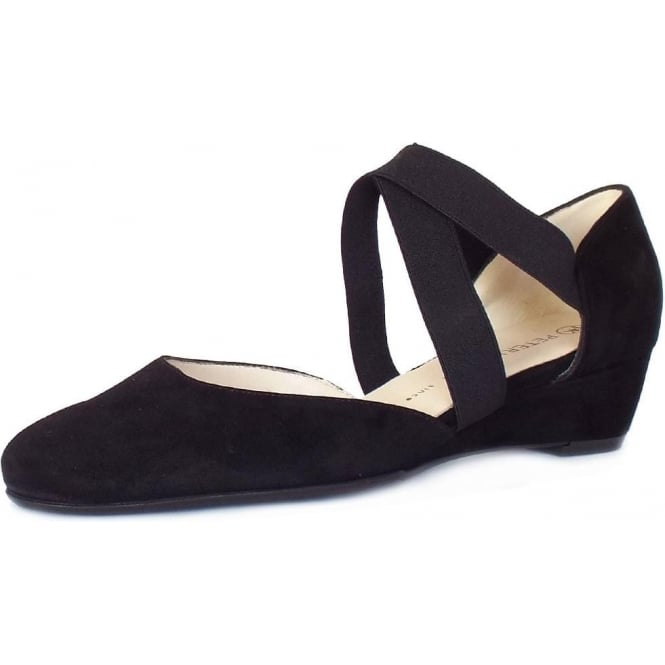 Peter Kaiser Jaila Low Wedge Summer Shoes in Black Suede