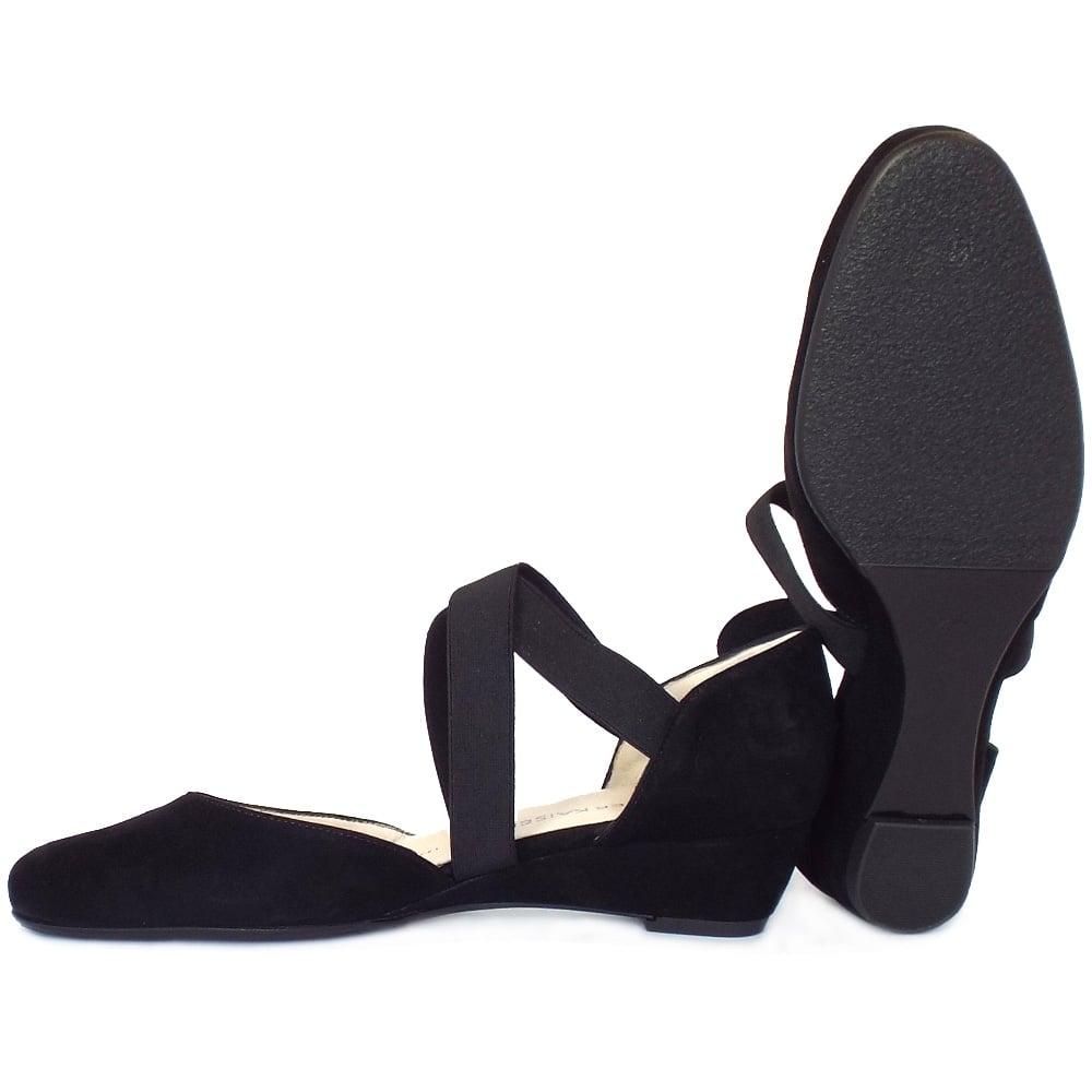 kaiser jaila best selling low wedge black shoes
