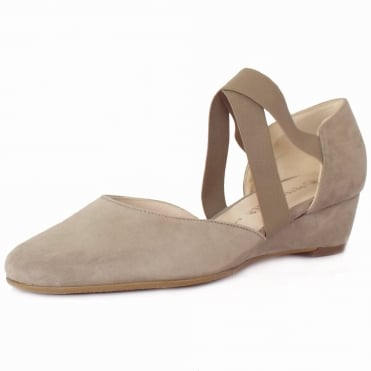 Jaila Low Wedge Summer Shoes in Taupe Suede