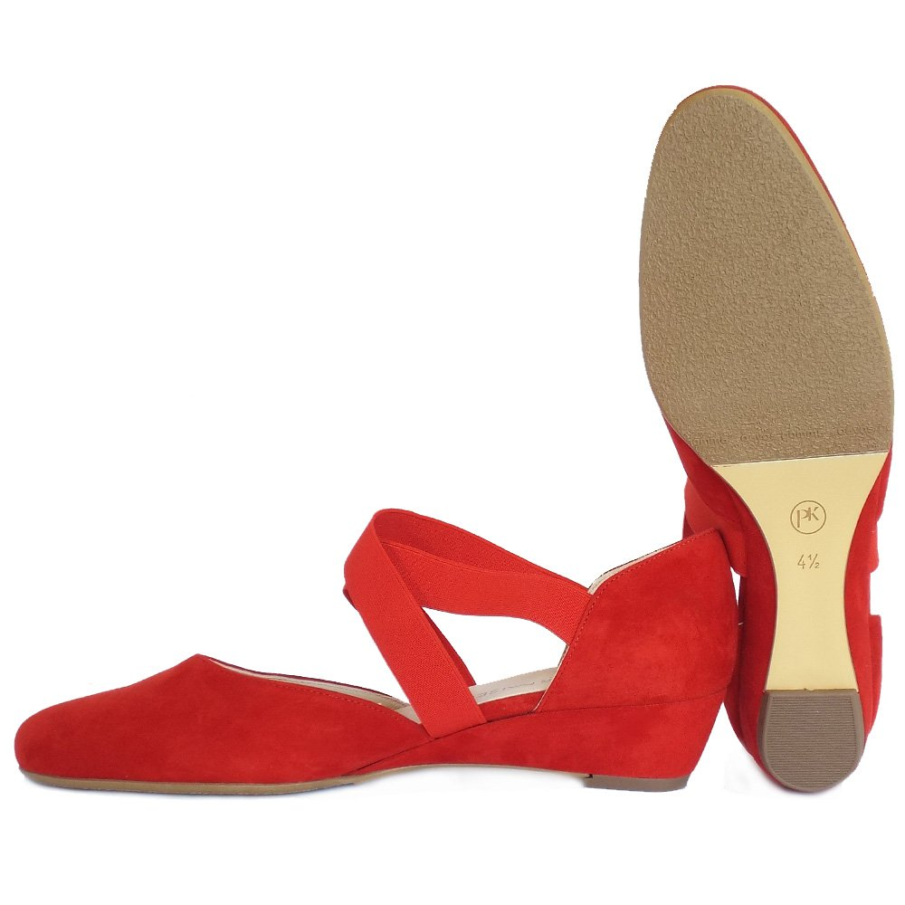 Peter Kaiser Jaila | Women's Best Selling Low Wedge Shoes | Red Suede