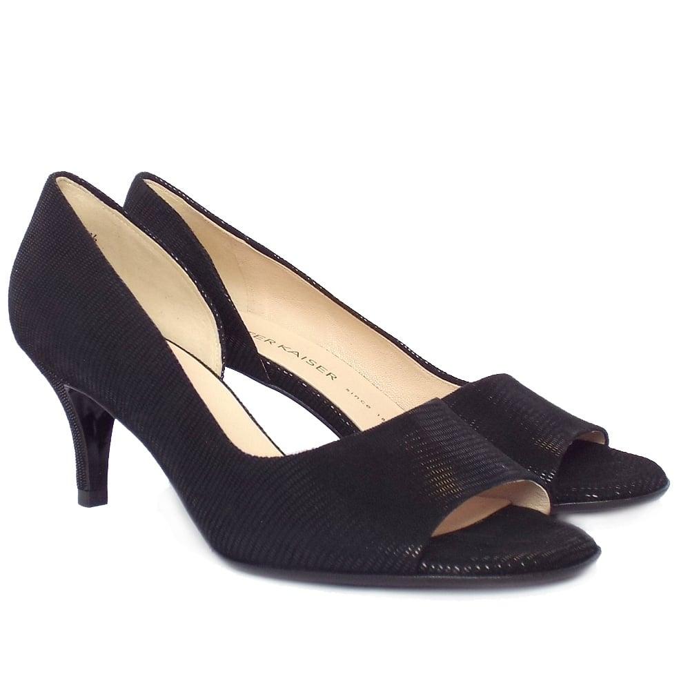 Peter Kaiser Jamala Open Toe Shoes In Black Lizard Suede