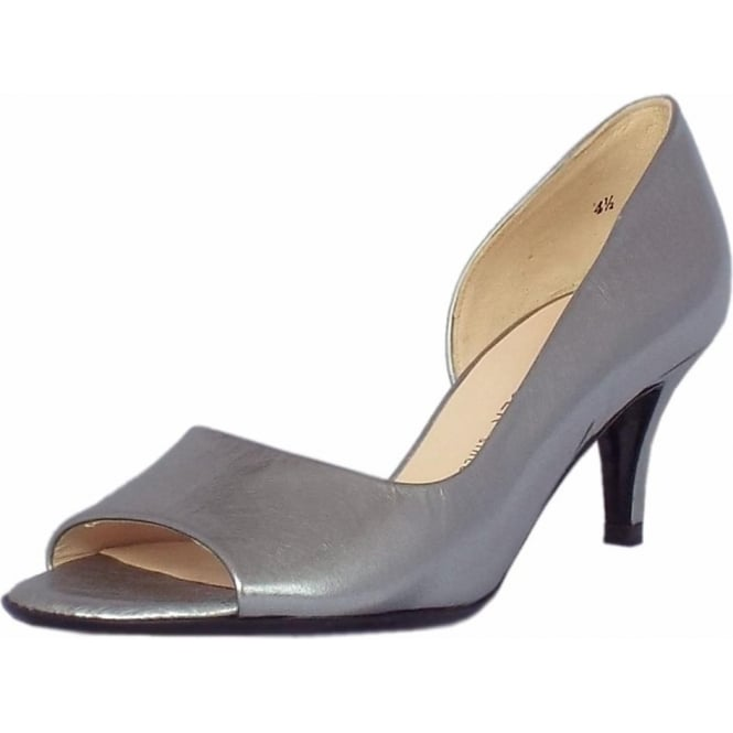 Peter Kaiser Jamala Women's Open Toe Shoes in Brushed Effect Steel Silver Finish