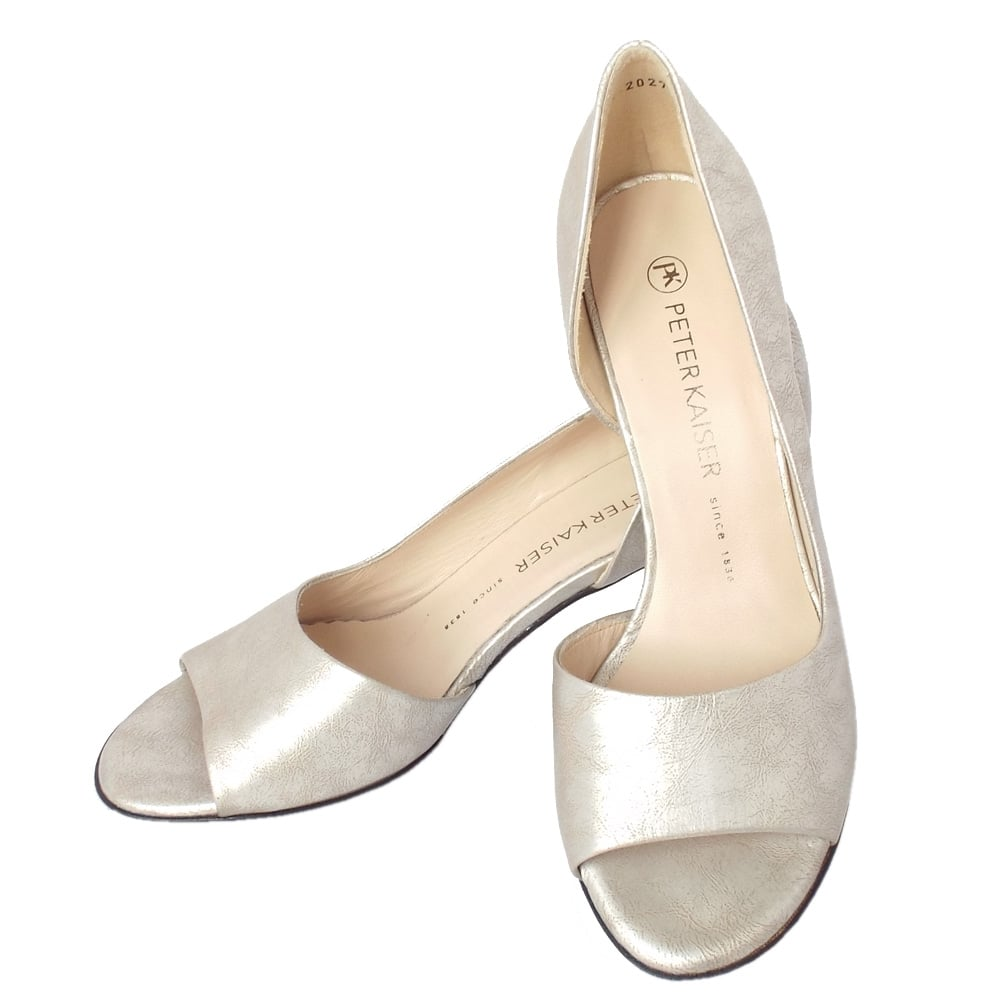 Peter Kaiser Jamala | Open Toe Shoes in Silver Leather ...