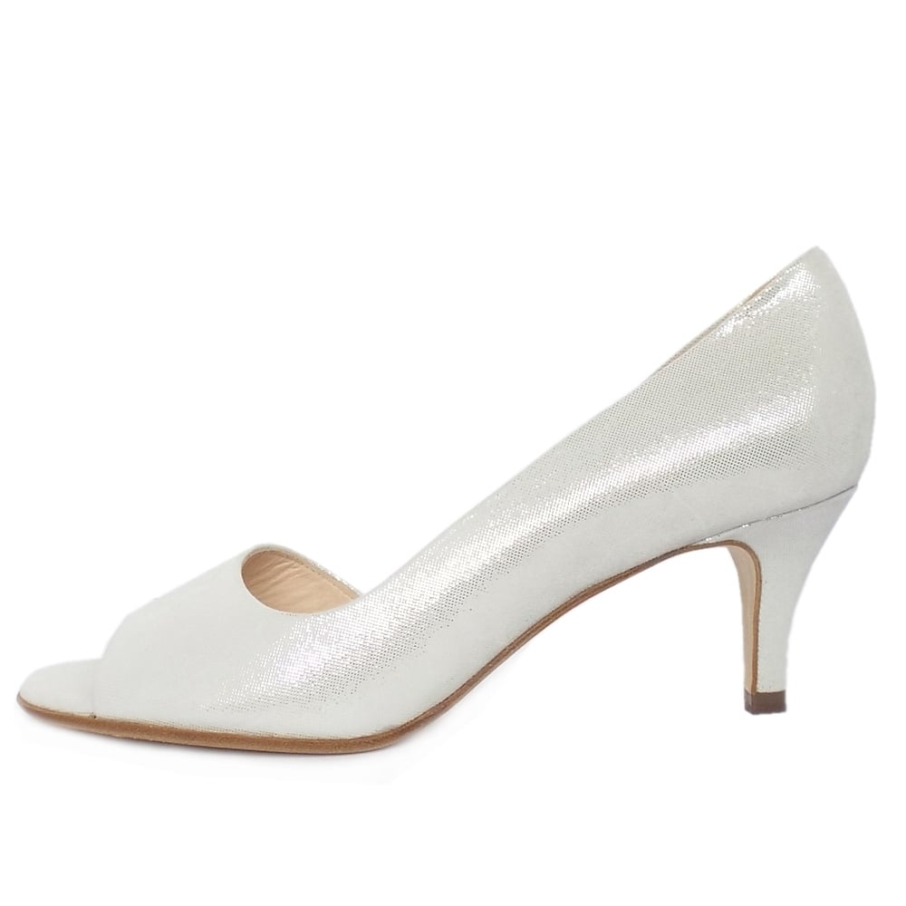 kaiser jamala open toe shoes in white silver suede