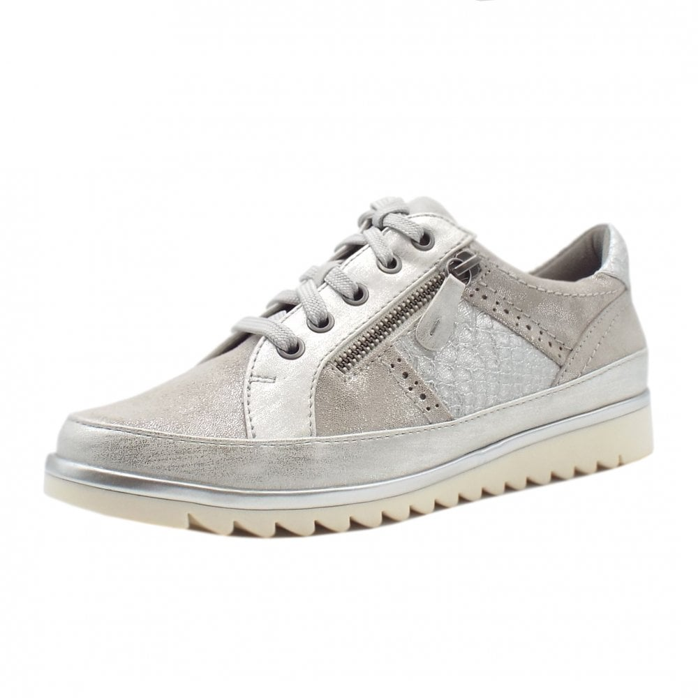 Wide Fit White/Silver Trainers   Mozimo