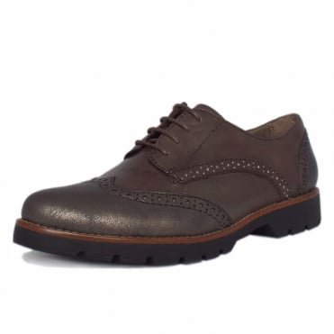 Lyon Modern Wide Fit Brogues in Taupe Leather and Metallic Finish