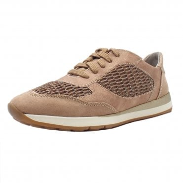 23604 Jetta Wide Fit Metallic Smart-Casual Trainers in Rose