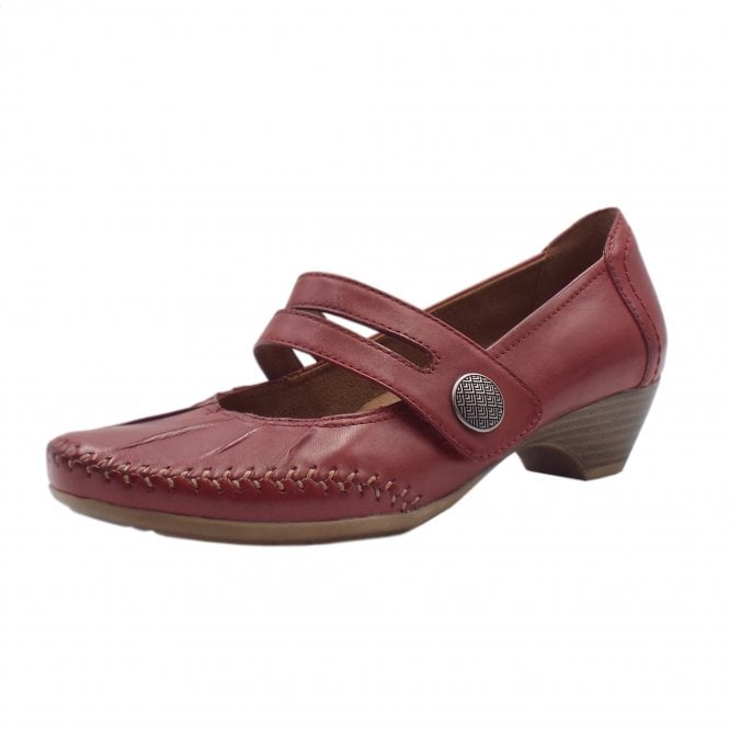 Jana 24311 Diane Wide Fit Smart-Casual Mary-Jane Mid Heel Shoes in Chili