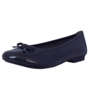 Assistance Casual Wide Fit Ballet Pumps in Navy Patent