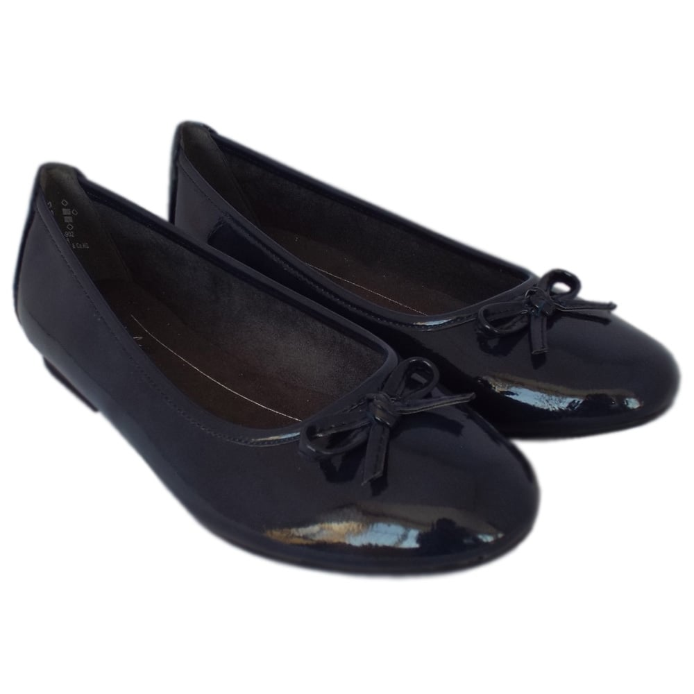 44193fba59f Assistance Casual Wide Fit Ballet Pumps in Navy Patent