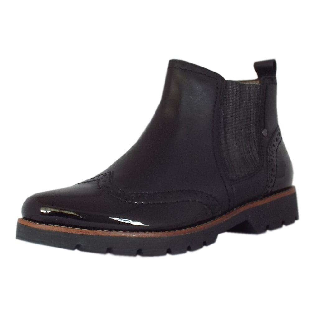 cambridge s wide fit brogue black ankle boot