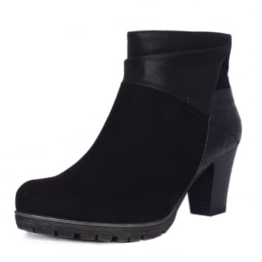 Cassis Modern Sporty Mid Heel Ankle Boots in Black Mix
