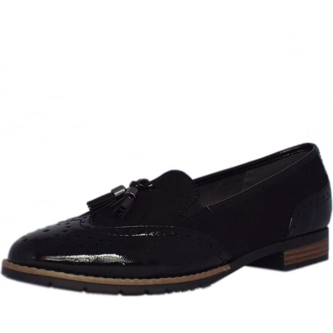 Jana County Ladies Modern Wide Fit Wingtip Brogue Style Loafer in Black