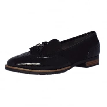 County Ladies Modern Wide Fit Wingtip Brogue Style Loafer in Black