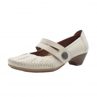 Diane Wide Fit Smart-Casual Mary-Jane Mid Heel Shoes in Putty