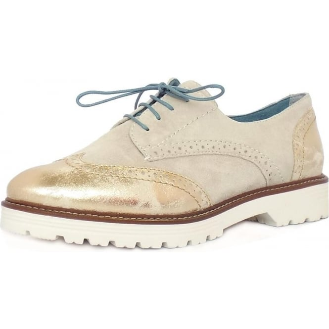 Jana Grantham Women's Casual Brogues in Ivory and Metallic