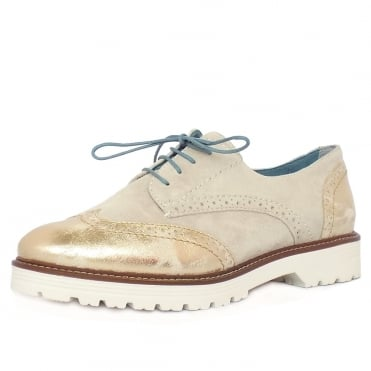 Grantham Women's Casual Brogues in Ivory and Metallic