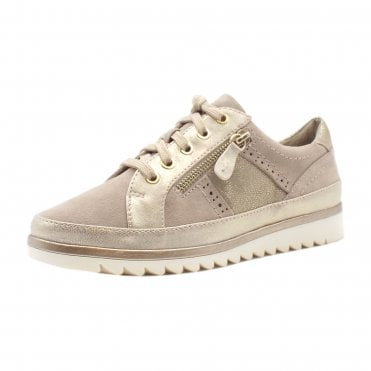 Jordash Wide Fit Smart-Casual Trainer Shoes in Taupe
