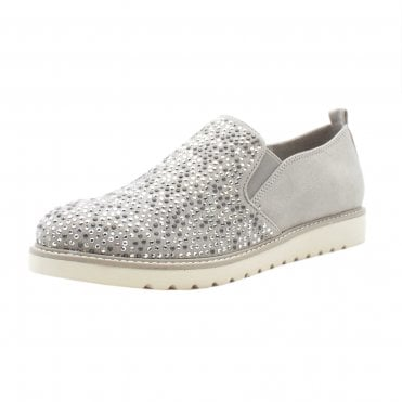Josie Sparkly Sporty Wide Fit Loafers in Light Grey