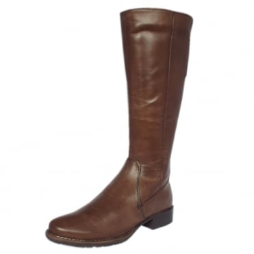 La Rochelle Fleece Lined Long Boots in Mocca Leather