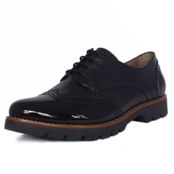 Jana Lyon Modern Wide Fit Brogues in Black Leather and Patent