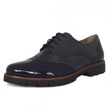 Lyon Modern Wide Fit Brogues in Navy Leather and Patent