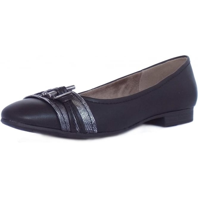 Jana Melton Women's Casual Wide Fit Ballet Pumps in Black