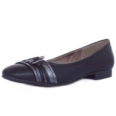 Melton Women's Casual Wide Fit Ballet Pumps in Black