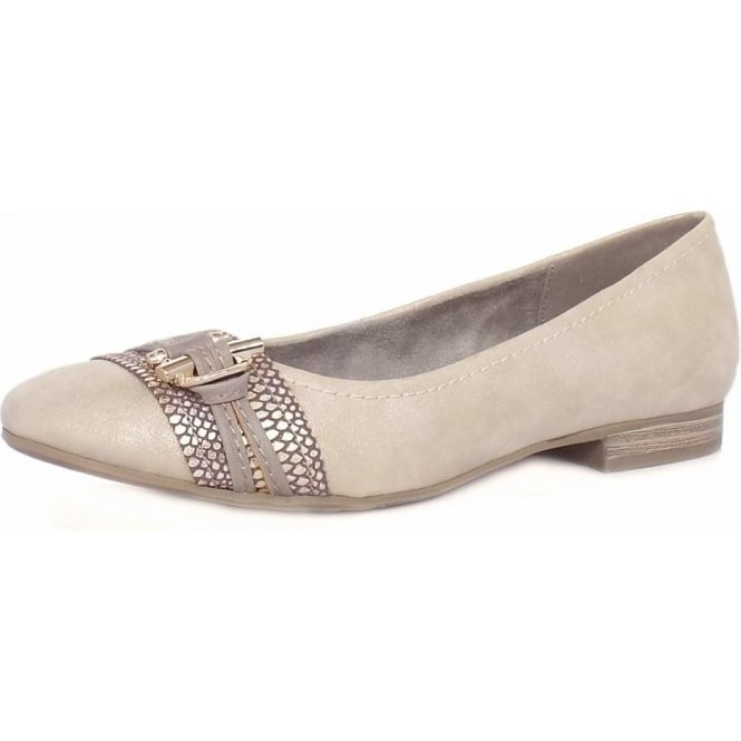 Jana Melton Women's Casual Wide Fit Pumps in Light Gold