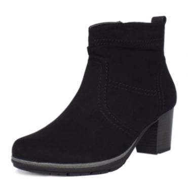 Milton Modern Sporty Mid Heel Ankle Boots in Black