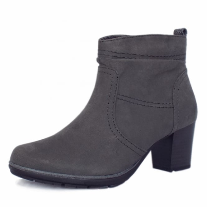 Jana Milton Modern Sporty Mid Heel Ankle Boots in Graphite