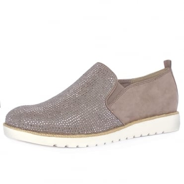 Oakham Women's Sparkly Sporty Wide Fit Loafers in Taupe